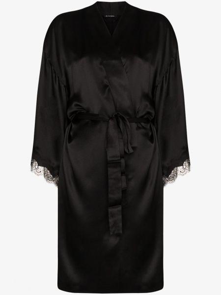 Czarny szlafrok koronkowy z jedwabiu Sainted Sisters