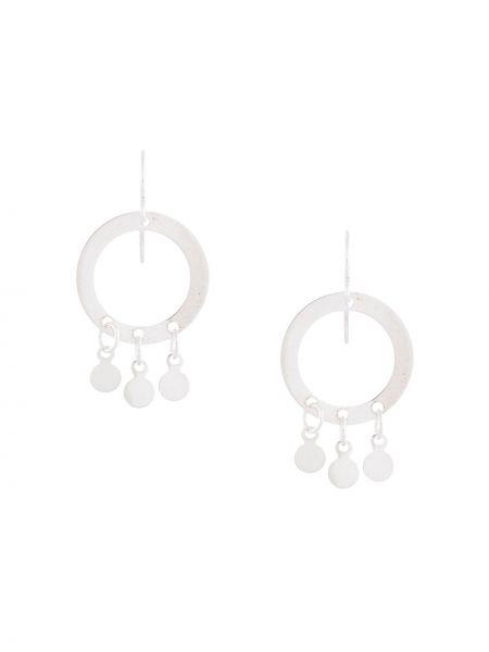 Серебряные серьги круглые с подвесками на крючках Petite Grand