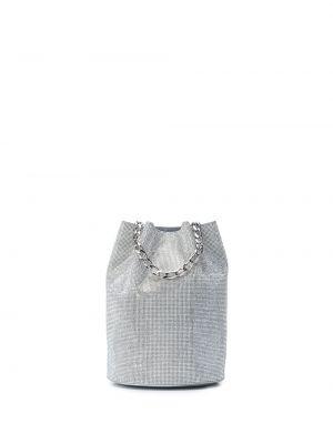 Серебряная шелковая кожаная сумка на шнурках с подкладкой Tyler Ellis