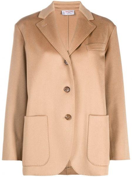 Коричневый однобортный классический пиджак с карманами на пуговицах Alberto Biani