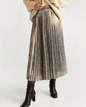Плиссированная юбка золотой Mango