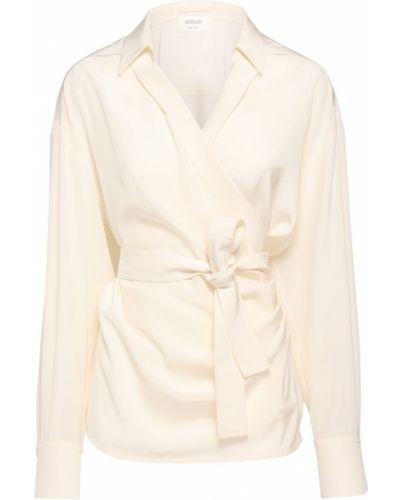 Beżowa koszula z paskiem z jedwabiu Sportmax
