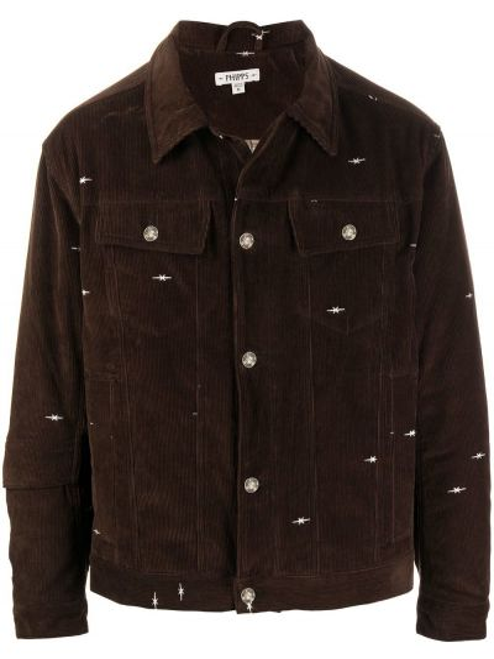 Коричневая классическая куртка на пуговицах с вышивкой Phipps