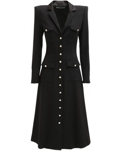 Восточное платье миди на кнопках с карманами из крепа Alessandra Rich