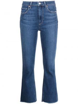 Синие джинсы клеш с завышенной талией классические Paige