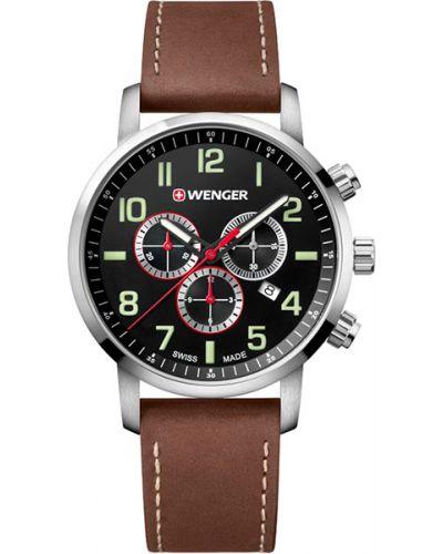 Часы водонепроницаемые с подсветкой с кожаным ремешком Wenger