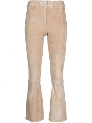 Расклешенные кожаные укороченные брюки на молнии Arma