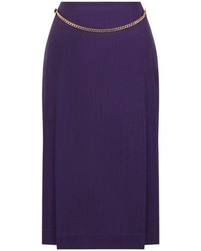 Шерстяная юбка - фиолетовая Victoria Beckham