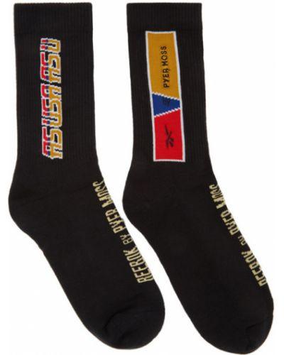 Хлопковые черные носки высокие стрейч с манжетами Reebok By Pyer Moss
