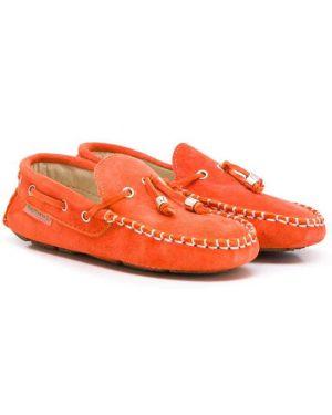 Mokasyny zamszowe - pomarańczowe Babywalker