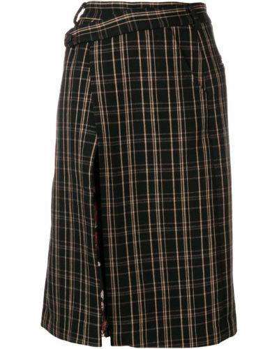 Черная юбка миди с карманами в рубчик Snow Xue Gao