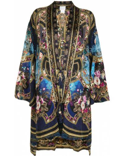 Długi płaszcz z dekoltem w serek z długimi rękawami z jedwabiu Camilla