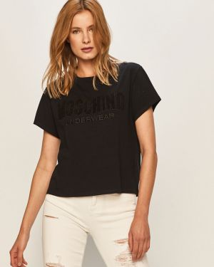 Czarny t-shirt bawełniany na co dzień Moschino Underwear