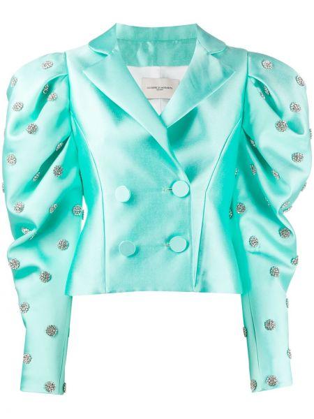 Зеленый пиджак двубортный с воротником Giuseppe Di Morabito
