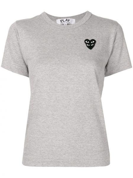 Bawełna prosto koszula z krótkim rękawem z łatami krótkie rękawy Comme Des Garcons Play