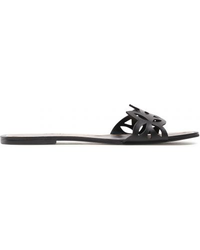 Кожаные шлепанцы - черные Eva Longoria