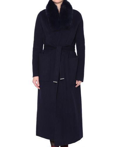 Синее шерстяное пальто с капюшоном Soia & Kyo