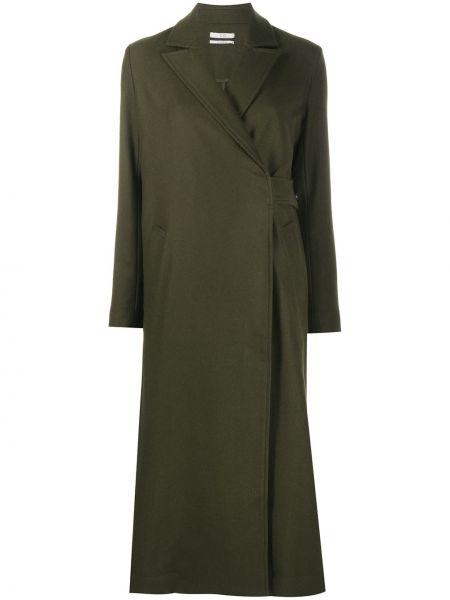Прямое зеленое шерстяное длинное пальто Co