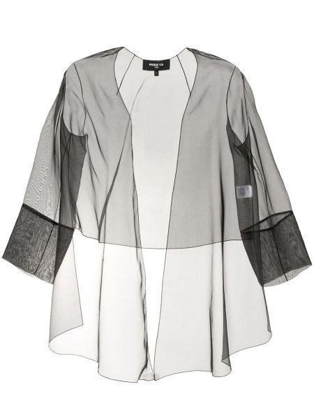 С рукавами шелковый черный удлиненный пиджак со вставками Paule Ka