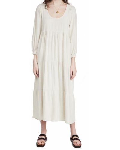 Льняное платье макси с длинными рукавами с декольте Rachel Pally