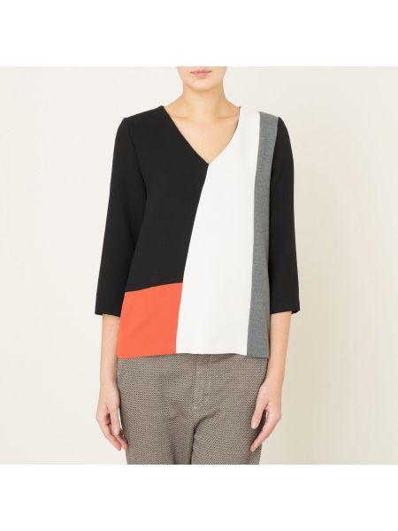 С рукавами прямая блузка с V-образным вырезом с вышивкой Toupy