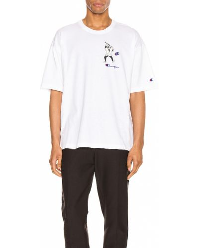 T-shirt z nadrukiem z printem - biała Champion Reverse Weave
