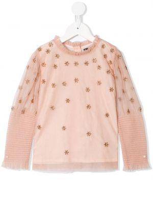 Różowa bluzka z długimi rękawami z siateczką Velveteen