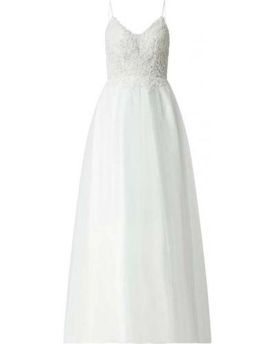 Biała sukienka wieczorowa rozkloszowana koronkowa Mascara