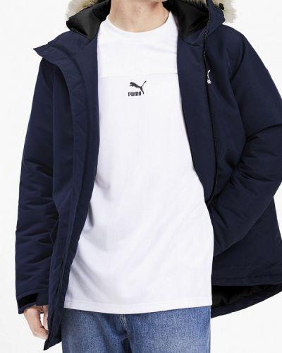 Утепленная куртка осенняя синяя Puma
