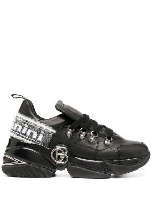 Массивные черные кроссовки с нашивками на шнуровке Baldinini