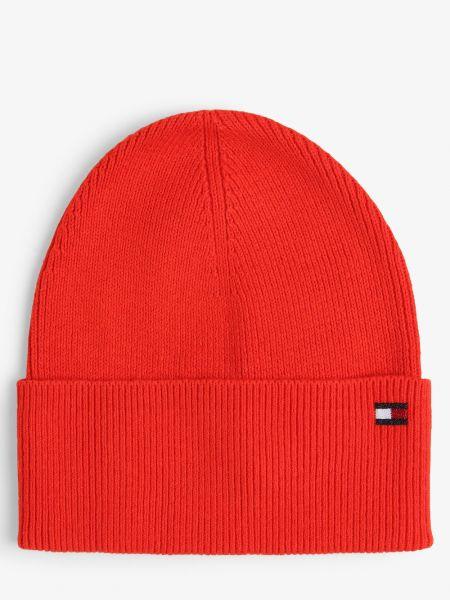 Pomarańczowa z kaszmiru czapka beanie Tommy Hilfiger