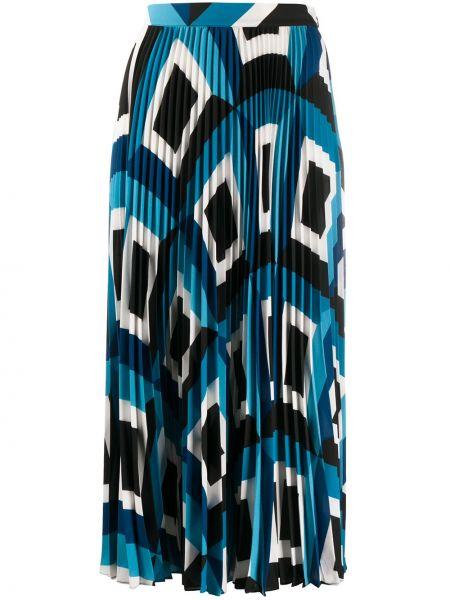 Синяя плиссированная юбка макси с поясом Escada