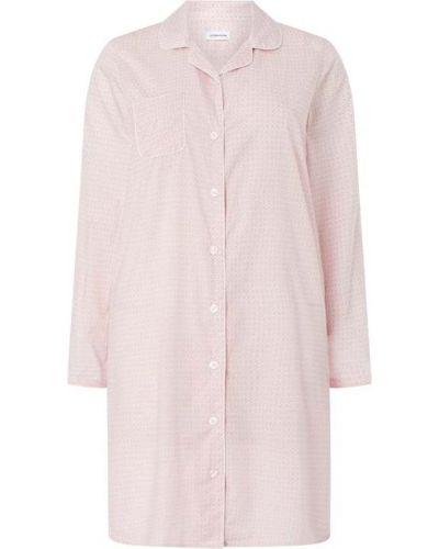 Różowa koszula nocna bawełniana z długimi rękawami Seidensticker