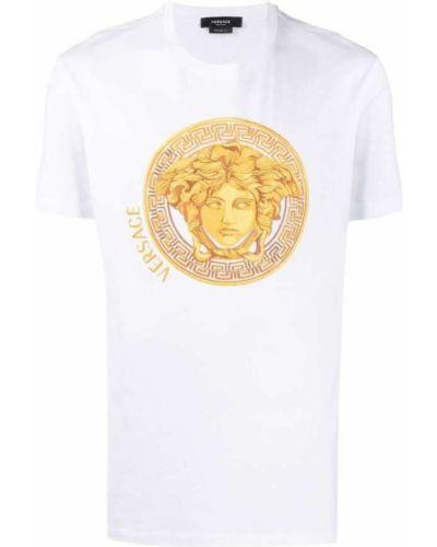 Biały t-shirt bawełniany z haftem Versace