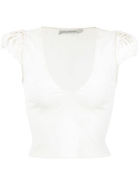 Белый приталенный текстильный топ Martha Medeiros