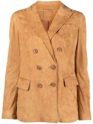 Коричневый удлиненный пиджак двубортный на пуговицах Desa 1972