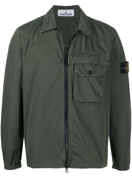 Z rękawami bawełna długa kurtka khaki z kołnierzem Stone Island