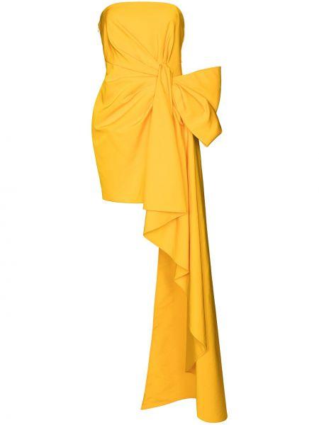 Желтое шелковое вечернее платье без рукавов Carolina Herrera