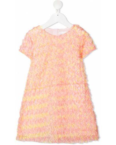 Różowa sukienka mini krótki rękaw z wiskozy Charabia