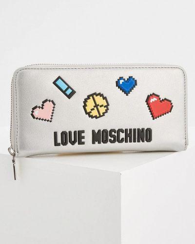 Кошелек серебряного цвета Love Moschino
