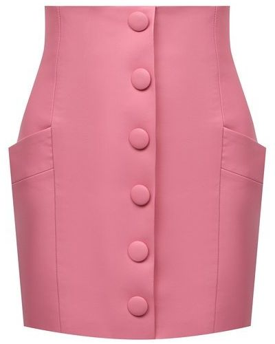 Кожаная юбка - розовая Balmain
