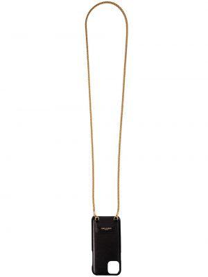 Czarny złoty łańcuch ze złota z printem Saint Laurent
