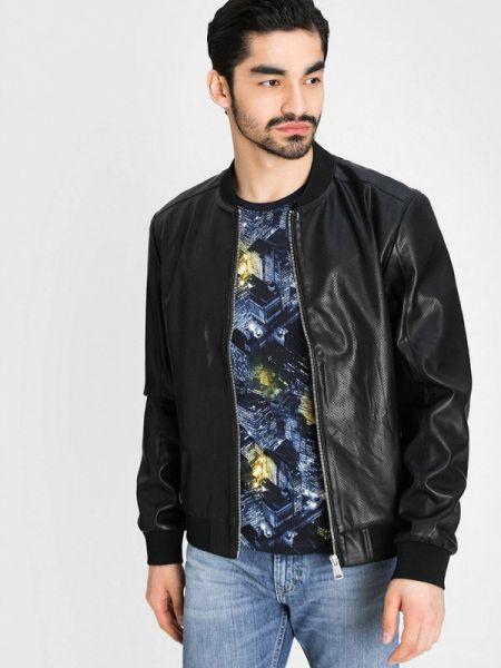 Кожаная куртка черная Ostin