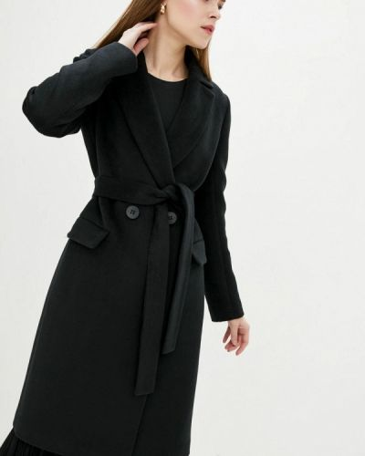 Черное пальто двубортное Danna