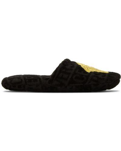 Złote czarne kapcie z haftem Versace