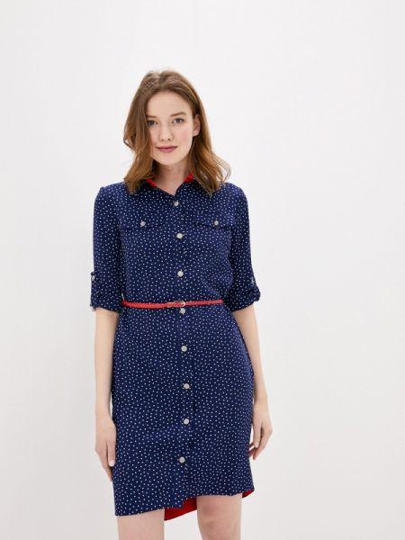 Платье платье-рубашка синее Sezoni