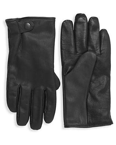 Ciepłe czarne rękawiczki skorzane Ugg