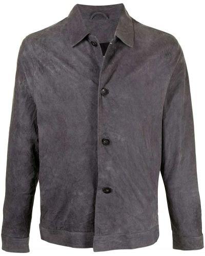 Klasyczna czarna długa kurtka skórzana Giorgio Brato