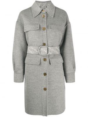 Серое шерстяное пальто классическое с воротником Fendi