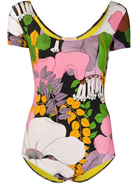 Różowy strój kąpielowy z nylonu krótki rękaw La Doublej